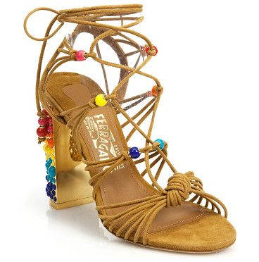 "Rainbow suede lace-up gladiator sandals by Salvatore Ferragamo. Rainbow baubles color suede lace-up gladiator sandalsBeaded metallic block heel, 4.1"" (105mm)Sued...:"