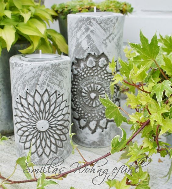 diy concrete candle holder kerzenst nder aus zement selber machen kerzenhalter und kerzen. Black Bedroom Furniture Sets. Home Design Ideas