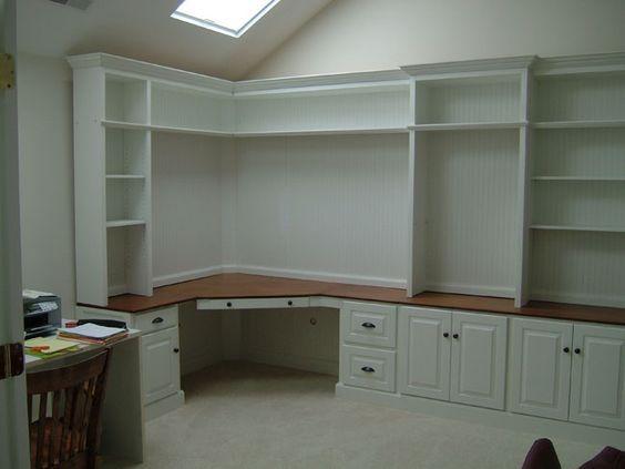 Image result for corner built in wall desk