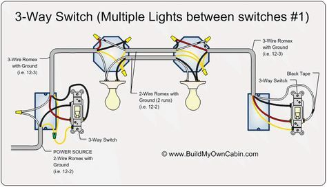 ❧ 3-Way Switch (Multiple Lights Between Switches) in 2019 ... on 3-way lamp wiring diagram, painless wiring diagram, 3-way light wiring diagram, light switch wiring diagram,