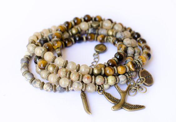 Bracelets – Gemstone Bracelet with Yellow quartz, tiger eye – a unique product by anaberstyle on DaWanda