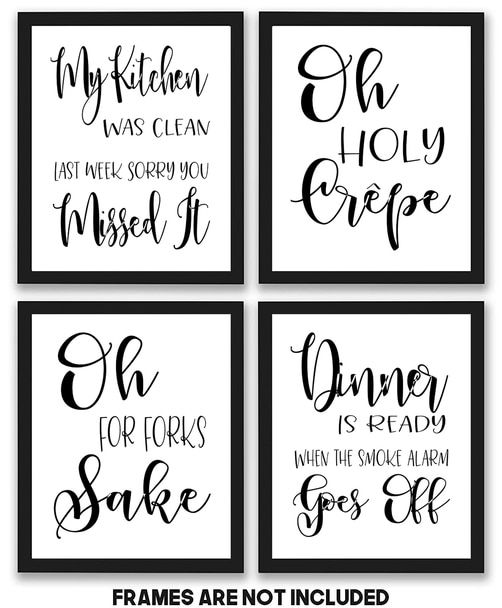 Kitchen Quotes And Sayings Art Prints 4 Pack Set 8x10 Photos