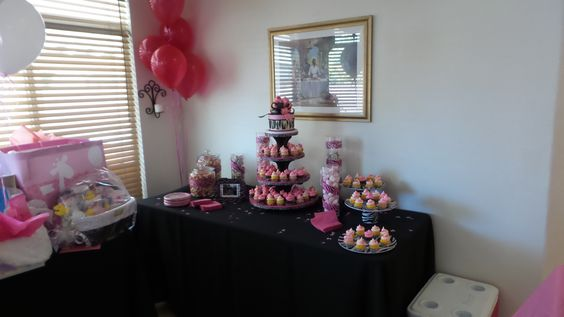 Candy & Cupcake table (see the cute cupcake stand)? :-)