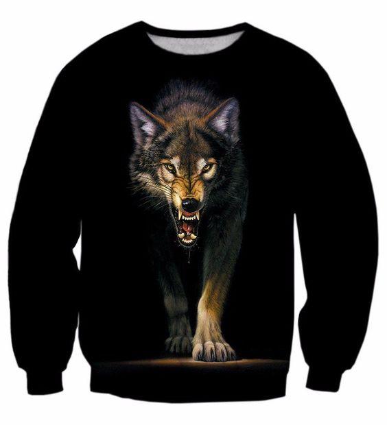 Black Fierce Wolf Wild Animal Stunning 3D Sweatshirt #Black #Fierce #Wolf #Wild #Animal #Stunning #3D #Sweatshirt