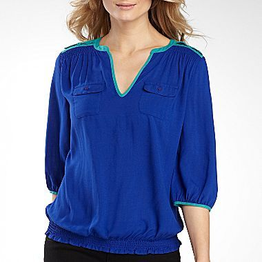 a.n.a® 3/4-Sleeve Smocked Cargo Blouse - jcpenney