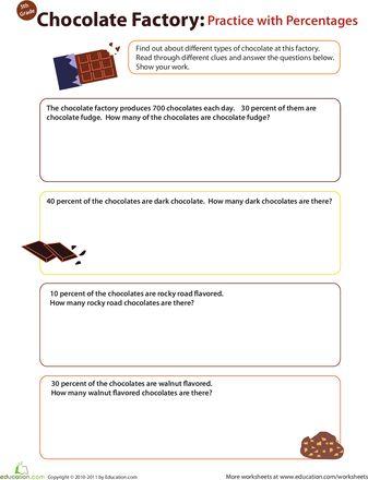 math worksheet : finding percents chocolate factory  chocolate factory factories  : Math Factory Worksheets
