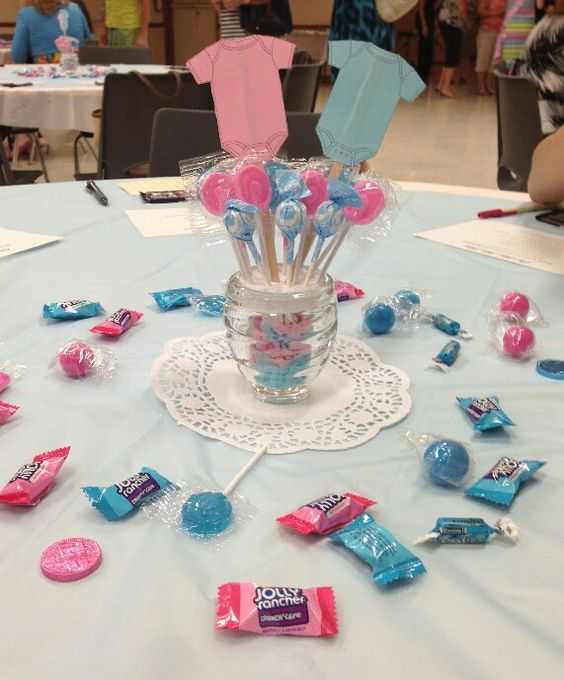 Gender reveal center pieces the shower pinterest for Baby decoration games