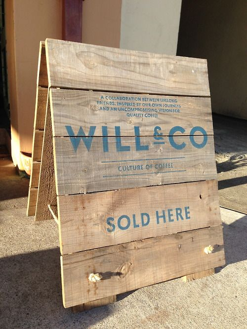 A-frame sign | old wooden apple crate. Sign is hand painted by Lynes & Co.