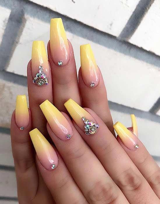 Yellow Ombre Coffin Nails ombrenails