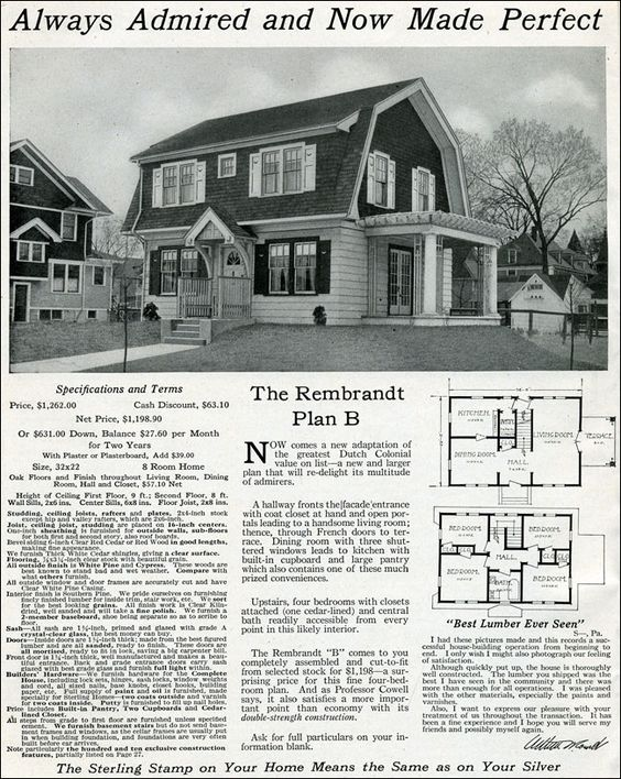 Dutch colonial revival 1916 rembrandt international for Dutch colonial house plans