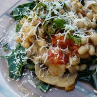 Beans with Tomatoes and Swiss Chard  by Kelly Rossiter  From TLC, as referenced in the Tree Hugger 7 Veg Meals link posted earlier, this is one of the recipes I mean to try during our recovery diet.