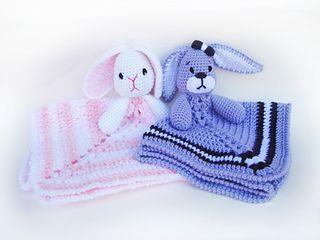 Baby bunny lovey security blankets. crochet pattern