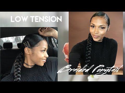 Low Tension Braided Ponytail Video Black Hair Information Goddess Braid Ponytail Natural Hair Styles Braided Ponytail
