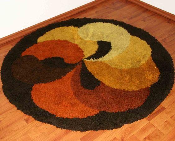 70er jahre desso psychedelic teppich vintage rund retro design dm 150cm carpet 7 in antiquit ten. Black Bedroom Furniture Sets. Home Design Ideas