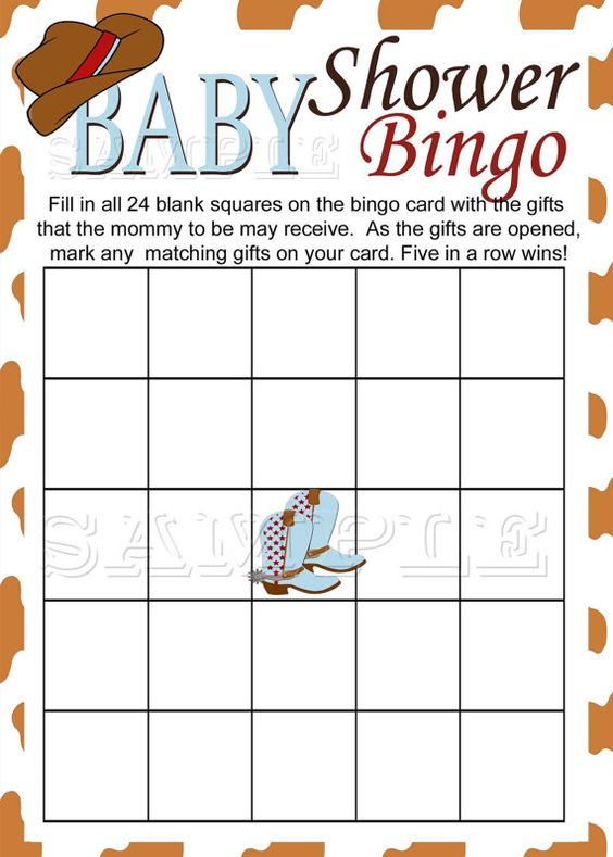 Western Baby Shower Bingo Game Printable by M2MPartyDesigns