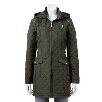 Weathercast Hooded Quilted Walker Coat - Women's