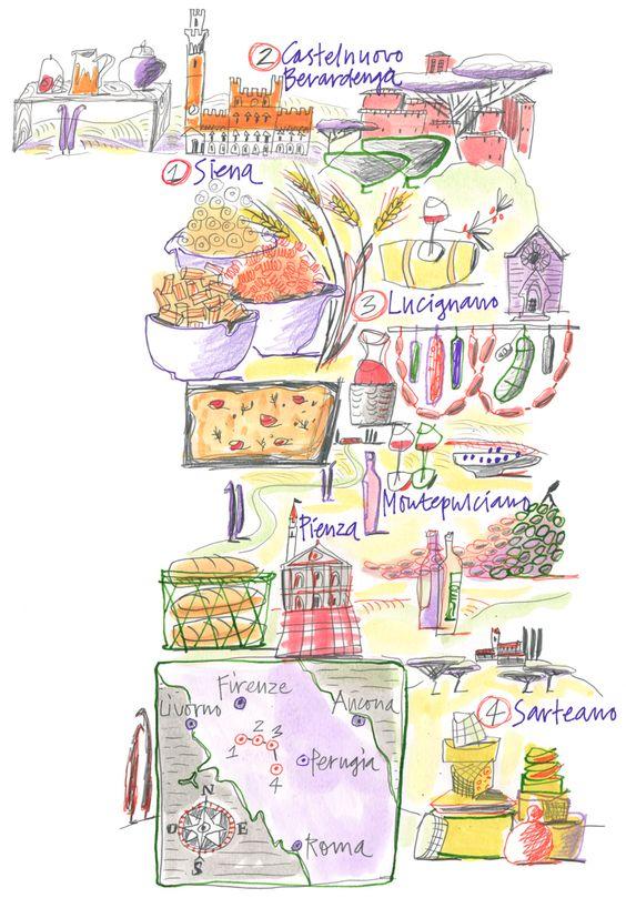 Giulia binfield food map illustration of tuscan for - Mobeldesigner italien ...
