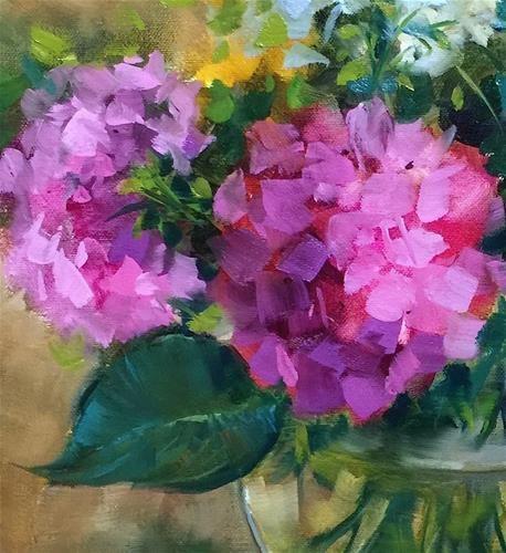 "Daily+Paintworks+-+""Slice+of+Pink+Hydrangeas""+-+Original+Fine+Art+for+Sale+-+©+Nancy+Medina"