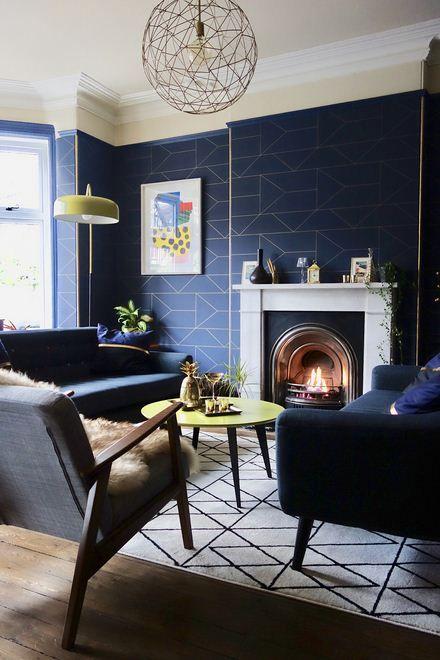 Blue Navy Living Room Color Scheme Blue Wallpaper Living Room Gold Living Room Blue Living Room Living room ideas navy blue