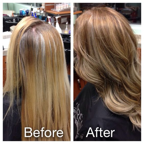 before and after lowlights for grey coverage and new
