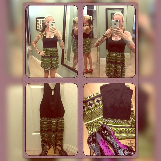 "Beautiful Casual Dress EUC. Bought from another person for my daughter and it didn't fit her. Size says ""medium"", but I'm a size XS-small in dresses and it fits me (but I don't wear dresses!). Cute for the summer. Black scoop top, black waist band for slimming midsection look, and purple/green/white/black abstract design on the bottom. Light and flowy. Dresses Midi"