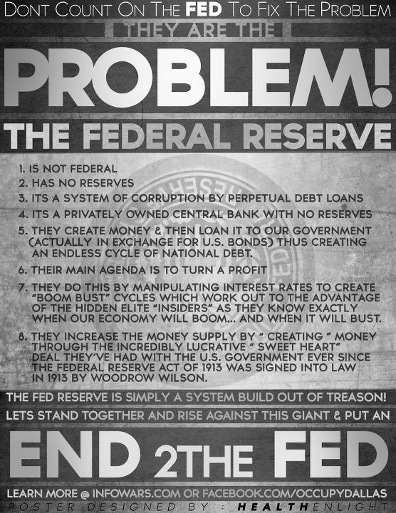End the FED. Educate yourselves please! I need to research this too.