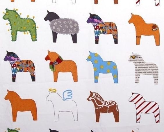 Scandinavian Swedish Dala Horse Fabric Panel Cotton New Made For Ikea FREE SHIP