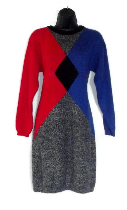 Vintage 80s sweater dress red blue and black sweater dress ...