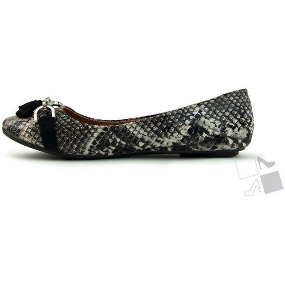 Grey Python Flats MyHotShoes.com ($17) via Polyvore