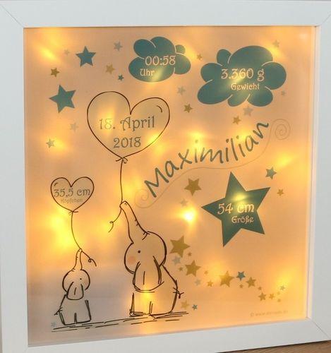 Personalisiertes Nachtlicht Zur Geburt Elefanten In Blau Traumhafte Led Lampe Nachtlicht Kinder Lampen Geschenke Zur Geburt