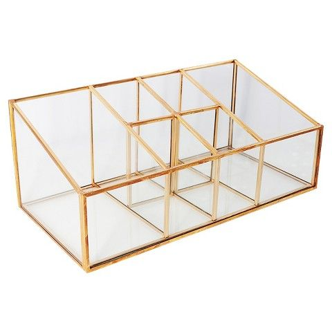 Threshold Glass And Metal Incline Compartment Vanity Organizer - Bathroom counter makeup organizer