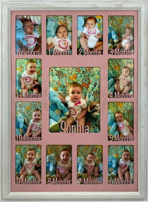 Baby First Year Picture Frame Collage Personalized 11x14 Baby Photo Frames One Year Pictures Collage Picture Frames