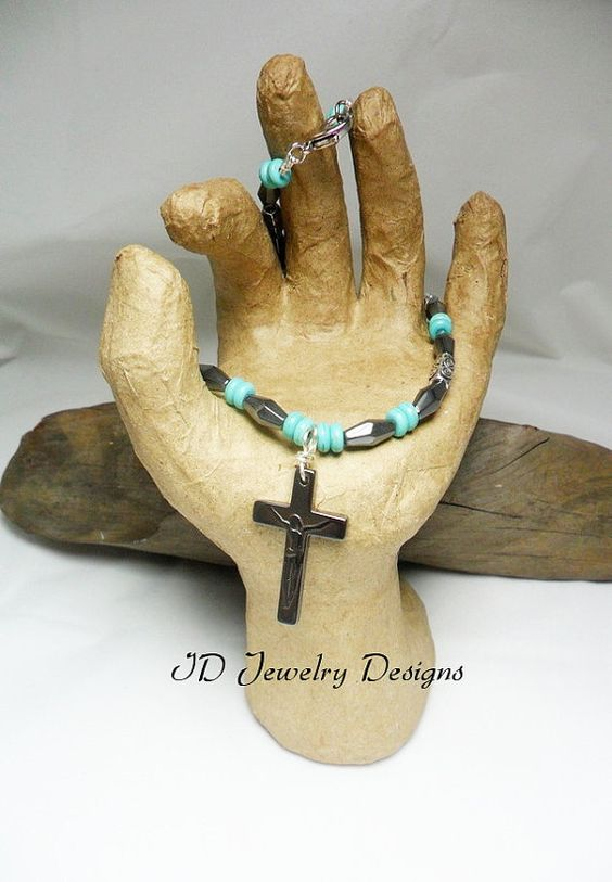 Mens Hematite with Turquoise Cross Pendent by IDJewelryDesigns