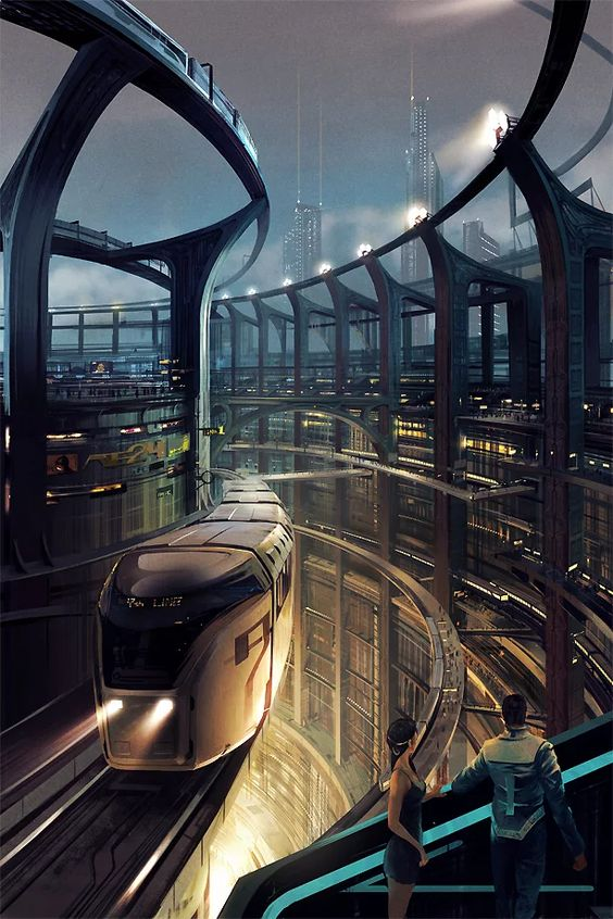 Transport on the upper levels of our cyberpunk city: