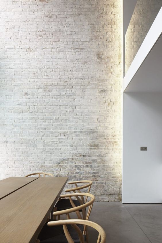 33 Modern Interior Design Ideas Emphasizing White Brick Walls  Tags: white brick wall decor, white brick wall design, white brick wall diy, white brick wall dining, white brick wall effect, white brick wall fireplace