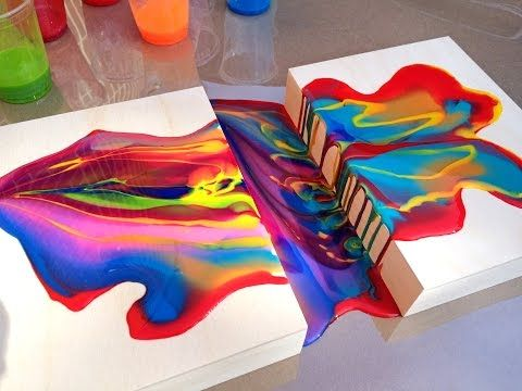 Acrylic Pouring Medium Connecting Two Wood Panels ...