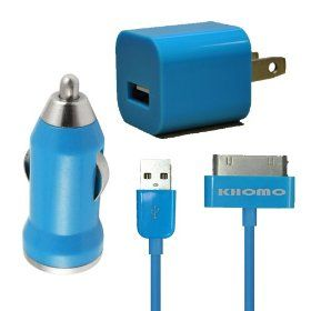 KHOMO Blue Color USB Power Wall Adapter Charger + Car Charger + 6ft EXTRA LONG Blue USB SYNC Cord Cable for Apple iPhone 4G 5G 4Gs iPod Nano iPod Touch.  List Price:$49.99  Sale Price:$14.99  Savings:$35