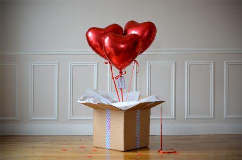 Bouquet Ballon Cadeau - Coeur Rouge: