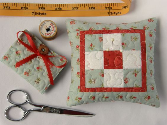 Sewing Gift Set - Quilted Pin Cushion and Quilted Needle Case, Soft Aqua and Red. via Etsy.