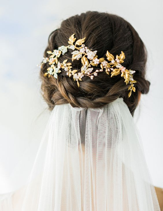 Gold beaded bridal headpiece // 7th Heaven: Bridal Veil Trends and Inspiration for 2016 - 2017 {Facebook and Instagram: The Wedding Scoop}