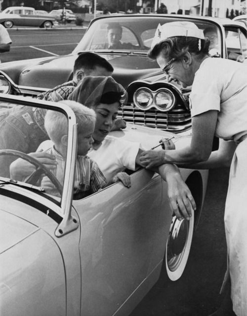 Drive-in clinic for the polio shot, Los Angeles, 1960