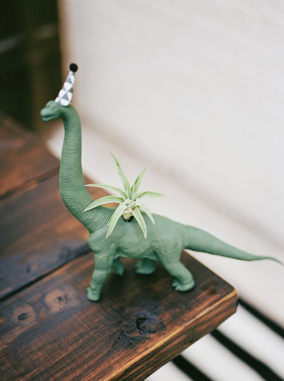 Phoenix's Second Birthday | Jennifer Laura Design » kristencurette dinosaur planter!