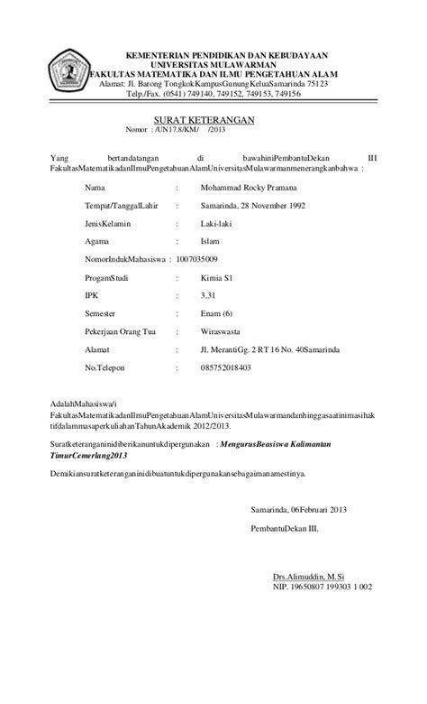 Contoh Surat Keterangan Aktif Kuliah Universitas Tadulako