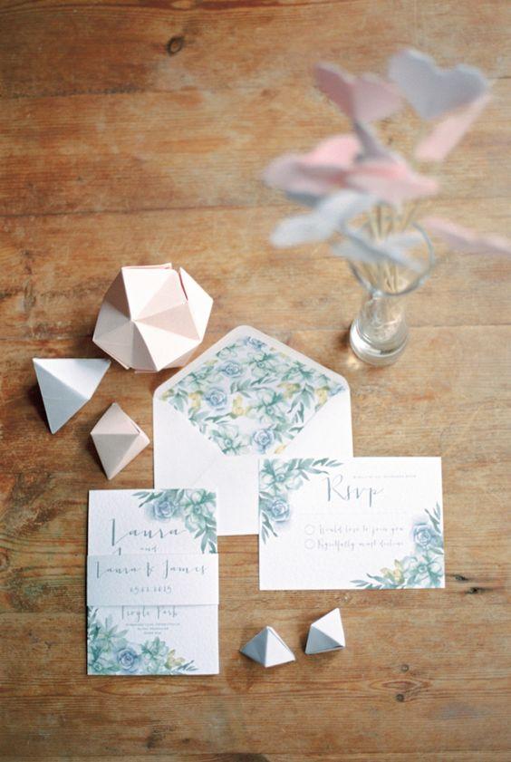 Floral Stationery Invitations Modern Minimalist Geometric Origami Succulents Wedding Editorial http://www.veronalain.com/