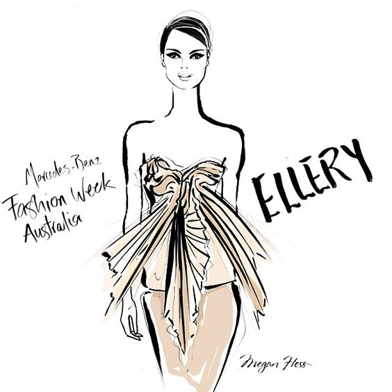 My sketch from @elleryland beautiful show today. Layers and layers of nude and blush silks, pleated and draped to perfection. A stand out show at @mbfashionweek