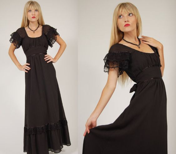 Vintage 70s PRAIRIE Dress Black GOTHIC Maxi w/ by LotusvintageNY