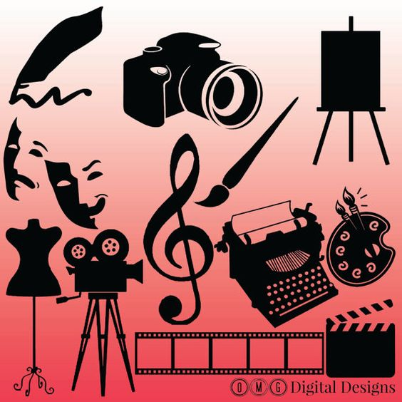 12 Art Silhouette Images Digital Clipart by OMGDIGITALDESIGNS