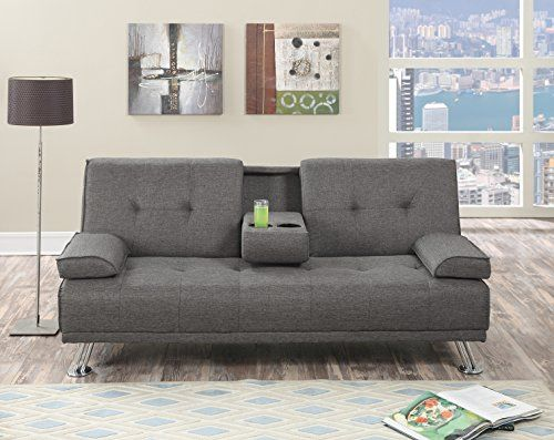 Modern Adjustable Futon Sofa Bed Retro Style Center Console Drop Down Cup Holder Sturdy And Durable Fr Convertible Sofa Upholstered Fabric Sofa Upholstery