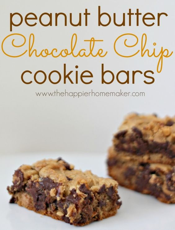 Peanut butter cookie bars, Chocolate chips and Chocolate chip bars on ...