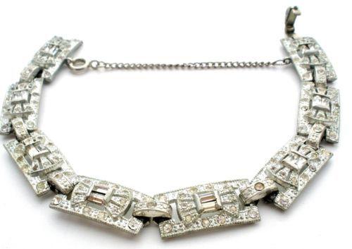 "Art Deco Paste Rhinestone Bracelet Rhodium Plated Pot Metal 7 5"" Antique Clear | eBay"